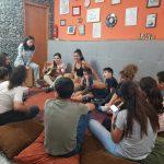 Volunteers entertaining refugees
